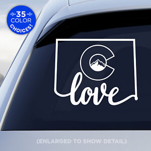 """Colorado State """"Love"""" Decal with stylized Colorado flag in middle of decal!"""