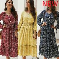 Casual Dress Dresses Cocktail Loose Maxi V Neck Boho Floral Womens Long Sleeve