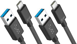 iLuv Fast Charging Type C Cable 2 Pack, 6.6 Ft. High Durability & Braided, Black