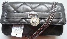 Michael Kors Sloan Clutch Quilt Flap hobo Gray Gunmetal Pewter Metallic Bag Nwt