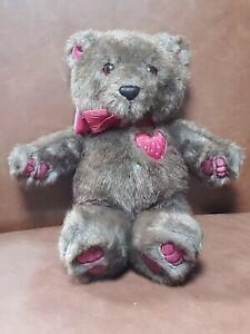 "Dakin Brown Teddy Bear With Heart Stuffed Plush 1987 12"""