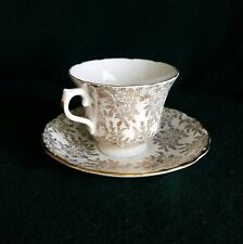 Royal Vale/ Bone China/ England/ Tea Cup and Saucer Gold Chintz Floral FREE SHIP