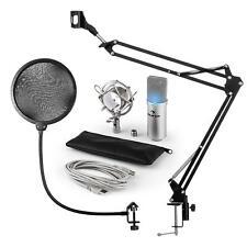 Auna Professional Studio Recording Microphone Pack  Silver Arm POP LED  Light