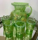 Fenton Apple Tree Pitcher and 4 Tumblers Vintage Artist Signed Green  #N101