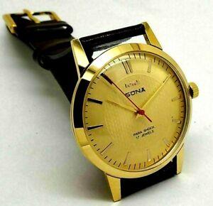Hmt Sona Slim Hand Winding Gold Plated Men Vintage Parashock Watch Run Order
