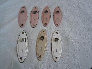 7 Vintage Oval Beaded Door Knob Escutcheon BACKPLATES Rustic Old Paint