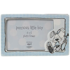 Ceramic Little Miracles Blue Baby Boy Single Photo Picture Image Frame Display