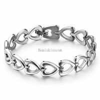 Women's Ladies Silver Stainless Steel Love Heart Link Chain Bangle Bracelet