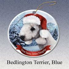 Holiday Pet Gifts Bedlington Terrier (Blue) Santa Hat Dog Porcelain Ornament