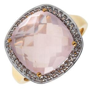 Damen-Ring echt Silber 925 Sterlingsilber vergoldet gold Topas und Rosenquarz
