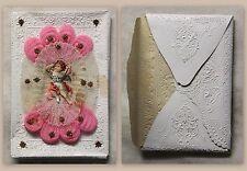 Alter Umschlag Taufbrief um 1890 dekorativ floral geprägt Stammbuchblümchen xz