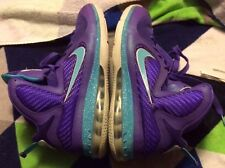 NIKE LEBRON IX 9 SIZE 10/44 PURPLE TURQUOISE LAKE SUMMIT HORNETS 469764-500
