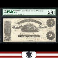 T-9 1861 $20 CONFEDERATE CURRENCY PMG 58 EPQ *CIVIL WAR NOTE*   50148