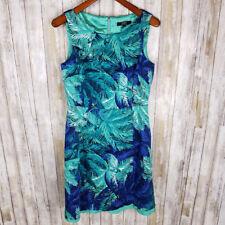 Alex Marie Women's Tropical Print Sheath Dress Blue Green Workwear Career Sz 10