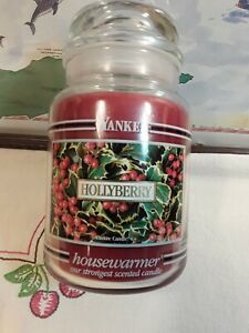 """Yankee Candle Retired Black Band """"HOLLYBERRY"""" 22 Oz White Label"""