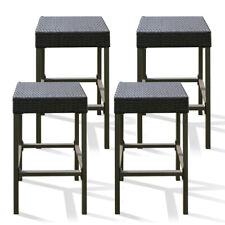 4PCS Rattan Wicker Dining Chair Set Bar Stool Patio Garden Furniture Brown