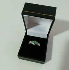925 Silver Emerald Ring - Size P/Q
