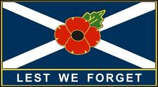 """Poppy Car Sticker With Scotland Flag """"lest We Forget"""" - Saltire Remembrance"""