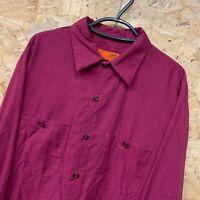 Vintage RED KAP Workwear Work Long Sleeve Shirt Burgundy USA Large L