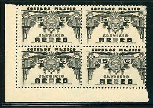 MEXICO MNH Air Post BLOCK Selections: Scott #C133 5c Black WMK272 CV$3+