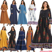 Floral Striped Abaya Women Muslim Maxi Cocktail Party Dress Islamic Kaftan Robe