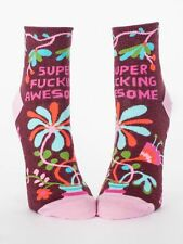 Women's Ankle Socks, Super F***ing Awesome, Blue Q, Cotton, One Size,Novelty