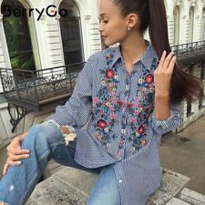 ZARA STRIPED BLUE FLORAL EMBROIDERED SHIRT BLOUSE BLOGGERS SIZE M MEDIUM L LARGE