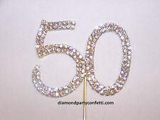 Rhinestone 50th Birthday Gold Anniversary Number Cake Cupcake Topper Decoration