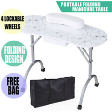 Mobile Manicure Nail Table Station Desk Spa Beauty Salon Equipment W/Pattern