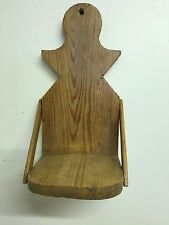 Early Primitive Pine Wood Candle or Lamp Wall Shelf with ZigZag Design ~Original
