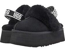 Women's Shoes UGG FUNKETTE Platform Sheepskin & Suede Slippers 1113474 BLACK