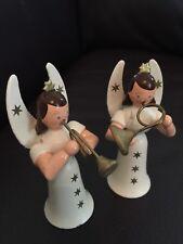 Vintage Erzgebirge Christmas Angel Musicians 2 Carved Wood Miniatures, White