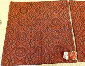 """Pottery Barn - NWT Pair of 20"""" Square Sabyasachi Patola red linen pillow covers"""