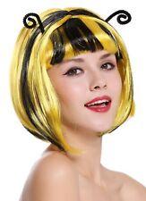 Wig Ladies Carnival Bee Bumblebee Black Yellow Streaked Bob Antennae