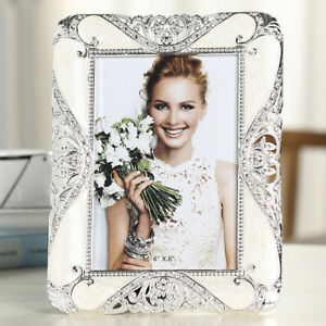 "6""/7""/8""/10"" Crystals White/Sliver Picture/Photo Frame Home Bedroom Desk Decor"