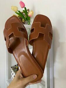 Leather TAN Women Oran Flat Beach Sandals Slippers Leather Slip On Sliders