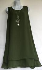 Italian Lagenlook Double Layered Floaty Hem Dress One Size (UK10-16) Khaki