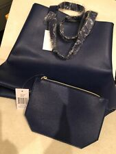 Brand New Blue Saks Fifth Avenue Lether Tote with Extra zipper Bag
