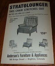 1965 STRATOLOUNGER CHAIR PRINT AD~ANDERSON'S FURNITURE in BRIGHTON,COLORADO