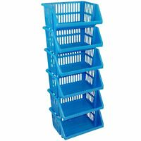 Multi Purpose Plastic SKY BLUE Storage Rack Stand Stackable Basket - 6 Tier