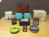 11 Collectible Vintage Tins - Tobacco, Cocoa, Cigars, Tea - Excellent (MAR18)