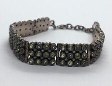 """Vintage Sterling Silver Bracelet 925 7.5"""" 8"""" Peridot Gemstone Green Heavy"""