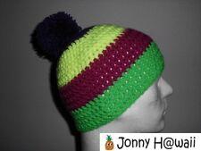 JONNY HAWAII Crochet cap Caniche Gorro hecho a mano Rayas anchas Violeta nuevo