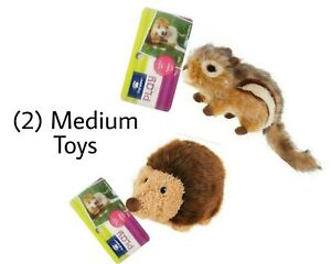 Top Paw Realistic Plush HEDGEHOG & CHIPMUNK - (2) MEDIUM Dog Toys SQUEAKS