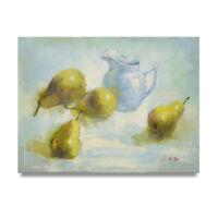 NY Art- Impressionist Pears Still Life 12x16 Original Oil Painting on Canvas