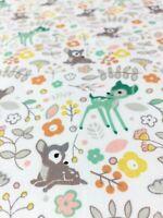 Adorable Woodland Deer Printed 100% Cotton Poplin Fabric Sold Per Half Meter