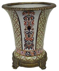 French Louis XVI Bronze Ormolu Chinese Porcelain Centerpiece Urn Vase Jardiniere