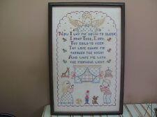 "Vintage Hand Made Embroidered Cross Stitch Sampler Framed 14"" x 23"" - 18"" x 27"""