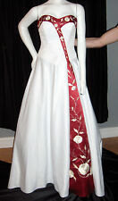 CUSTOM WEDDING GOWN WHITE RED 2 SHAWL GOLD EMBROIDERY STRAPLESS NEW