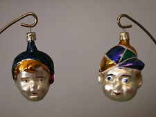 Lot of Two Vintage Little Boy Head and Jester Head Ornaments, Czechoslovakia